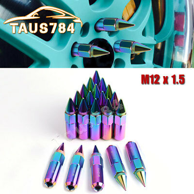 20PCS 12X1.5 Neo Chrome Spike Lug Nuts Extended for Honda Ford Chevrolet Toyota