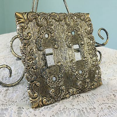 Vintage Decorative Ornate Filigree Metal Double Toggle Cover Light Switch Outlet
