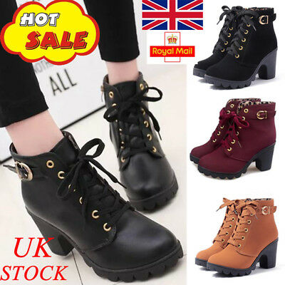 f6d2870f003 UK Womens Lady Chunky Block Mid Heel Grips Ankle Boots Lace Up Zip Shoes  Size2-