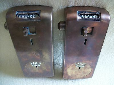 """2 x  LOVELY VINTAGE  BRASS  TOILET  LOCKS  COIN  OPERATED  """"spend a penny"""""""