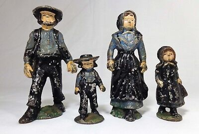 Vintage Early 20Th Cent Hand-Painted Cast Iron Amish Family 4 Piece Figurine Set