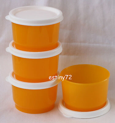 Tupperware Everyday Kids Snack Cups Set (4) Papaya Orange & Snow White New