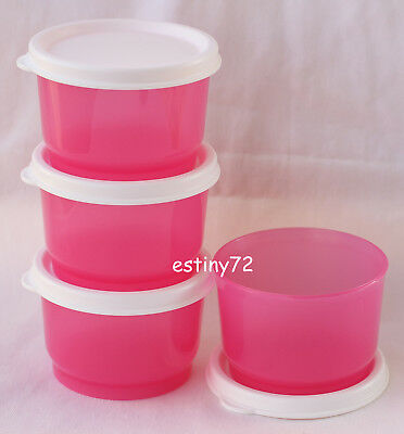 Tupperware Everyday Kids Snack Cups Set (4) Pink Punch & Snow White New