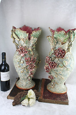 PAIR XXL French antique BARBOTINE Floral majolica encrusted flowers vases 1900