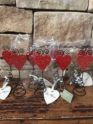 NEW Lot 8 Rare Wendy Addison Red Glitter Heart Photo Stand Table Decoration 2004