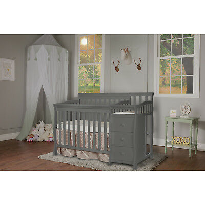4-in-1 Convertible Crib with Changer Baby Toddler Nursery Furniture Storm Gray