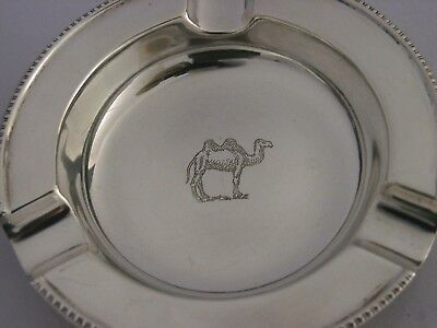 UNUSUAL ENGLISH STERLING SILVER CAMEL ENGRAVED ASH TRAY ASHTRAY 1961 52g