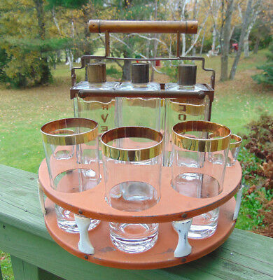 Vintage Bar Accessory Carousel Shot Glasses Decanter Set Spins Home Caddy