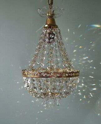 French Vintage Chic Lead Crystal Tent & Bag Chandelier Lighting