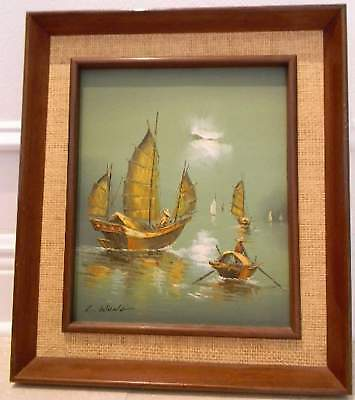 VINTAGE ORIGINAL ART PAINTING OIL ON CANVAS SIGNED by ARTIST L.WONG