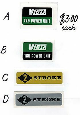 Victa Vintage Mower Power Unit 125cc / 160cc and 2 Stroke Repro Decals