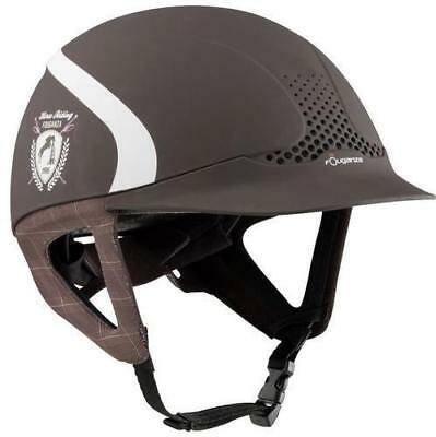 Fouganza Horse Riding Safety Helmet Ventilated Rider Comfort Auto Adjust Brown
