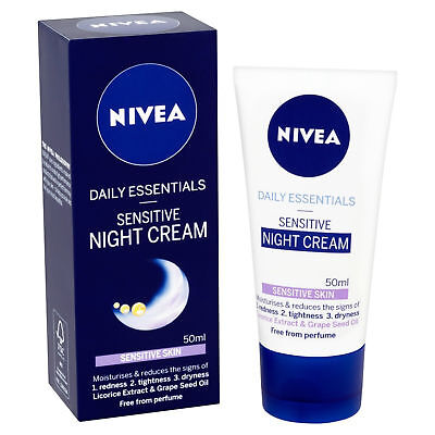 Nivea Daily Essential Sensitive Face Night Cream Skin Moisturize 50 ml Pack of 2