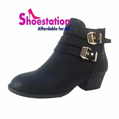 NEW Womens Wide Footbed Buckle Low Cuban Heel Short Calf Ankle Booties Size 5-10