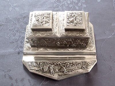 Inkwell Chinese Export Silver Encrier Argent Massif Asie Chine