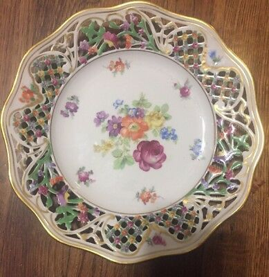 Antique Schumann Bavaria Germany US Zone Chateau Reticulated Dinner Plate Euc