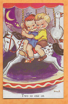 Two to one on Children Comic Fairground Carousel Tuck Postcard by Dinah