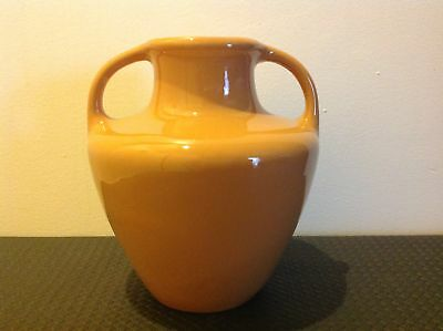 Fowler Ware Mustard Coloured Double Handled Vase.