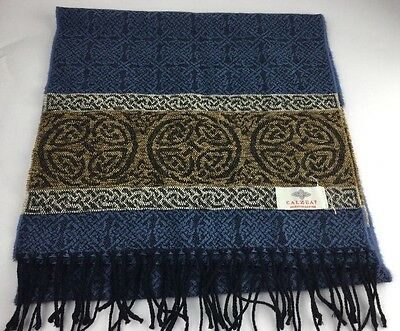 Celtic Border Jacquard Alba Scarf by Calzeat of Scotland - Nordic Blue
