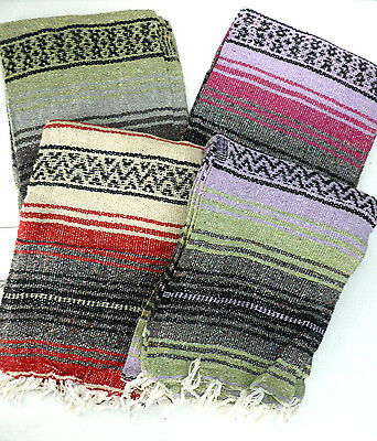 Lot of 4 Authentic Mexican Falsa Blankets 70 x 50 Southwestern NEW