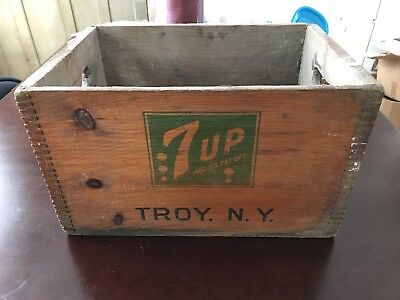 Vintage 7UP Wooden Box Crate Troy, NY Very RARE Variation Ex Cond