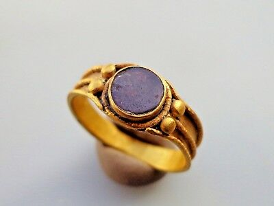 Migration period.Gold ring with carnelian stone.