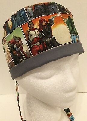 Avengers Medium Medical Surgery OR Skull Scrub Hat Chemo Cap