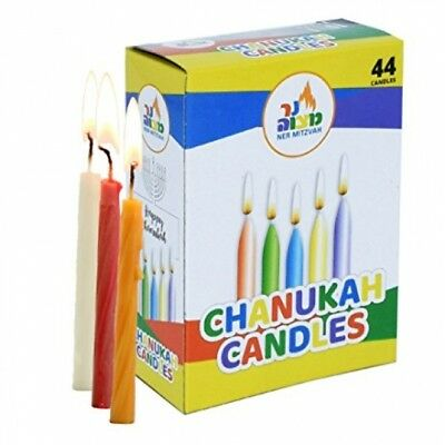 Traditional Thin Kosher 44 Chanukah Wax Candles Mix Colours Hanukkah - 8 Nights!