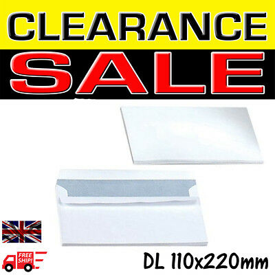 High Quality White Self Seal Envelopes PLAIN DL 100 gsm Strong Paper 110 x 220mm