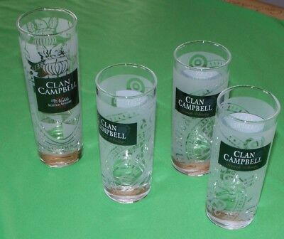 Lot 4 VERRES  CLAN CAMPBELL SCOTCH WHISKY - Forme tube 3 :12,5 X5  et 1 : 15X5,5
