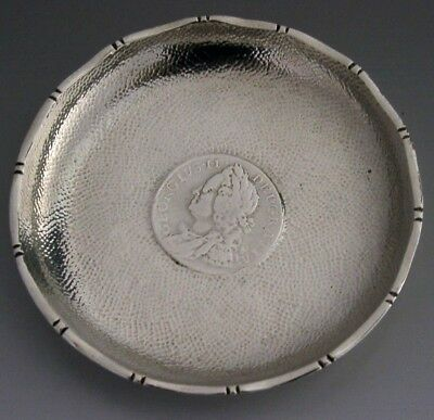 Rare Sterling Silver Chinese Export Coin Dish 1758 English George Ii Coin