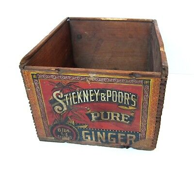 Antique Shipping CRATE/Wooden Box-STICKNEY&POOR'S PURE GINGER Label-Poor-Spice