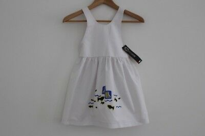 "Girls ""CioccoLatini Mini"" Brand White Cotton Summer/Beach Dress - Sizes 2,3,4,5"
