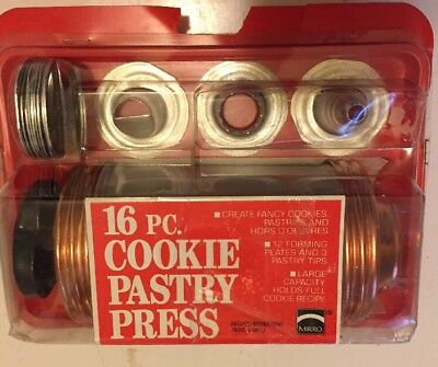 Mirro Cookie Pastry Press 3 pastry tips & 12 Forming plates & Instructions