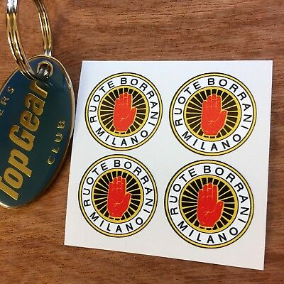 BORRANI ALLOY or WIRE WHEEL Retro Stickers Decals 26mm  4 off