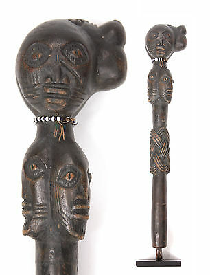Vintage African Fly Whisk Swatter Africa Ceremonial Tribal Congo Statue Antique