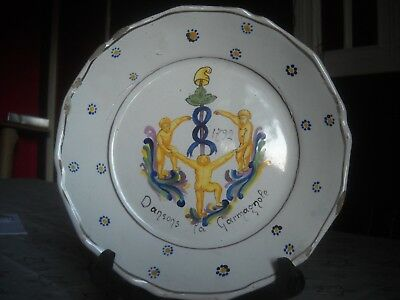 "ancienne assiette Nevers 1792 "" DANSONS LA GARMANIOLE "" bonnet Phrygien"