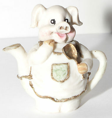 "Adorable Miniature Pig Cook Chef Resin Teapot 2 1/2"" High x 2 1/2"" Wide"