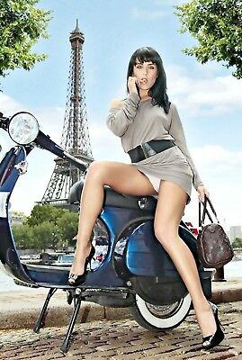 C46_NEW 7 x 5 PHOTO PRINT_pretty french girl sitting astride a Vespa Scooter