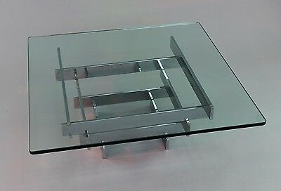 Paul Mayen Modern Mid Century chrome and Glass Coffee Table