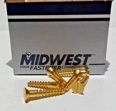 Midwest Fasteners #5 Slotted Brass Flat Head Wood Screws 100ct Various sizes