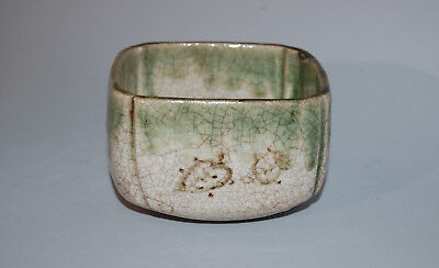 Square stoneware serving bowl or dish, turtles, Oribe ware, Japan Meiji era