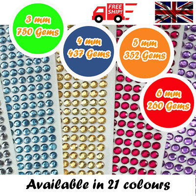 Round Decorative Diamante Crystal Sticky Rhinestone Gems in 4 Sizes & 21 Colours