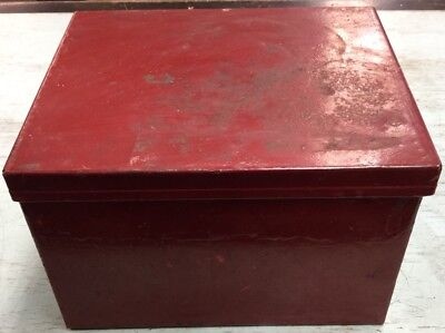 Vintage Industrial Steel Metal Storage Box With Attached Lid, Painted Red