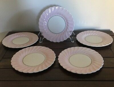 Biscuit Plates Myott Staffordshire Old Chelsea Pink And Cream Swirl Set Of 5