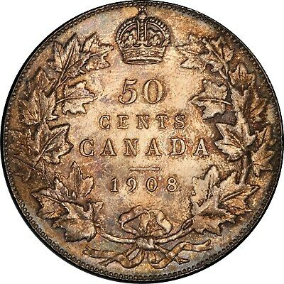 1908 Canadian Silver 50 Cents PCGS MS-64 , Great Eye Appeal