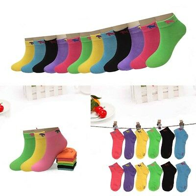 New 6-12 Pairs Dozen Child Girls Kids Candy Color Ankle Socks Cotton Multi-Size
