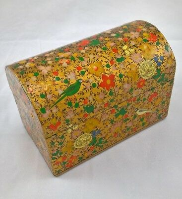 Vintage trunk shaped 1970s Kashmir hand painted box made for Oxfam