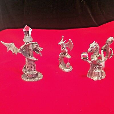 Pewter & Crystal Dragon Figurines Lot of 3