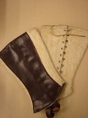 Original WW1 US Army CAVALRY BAND & MP Leather Lined WHITE Mounted Leggings